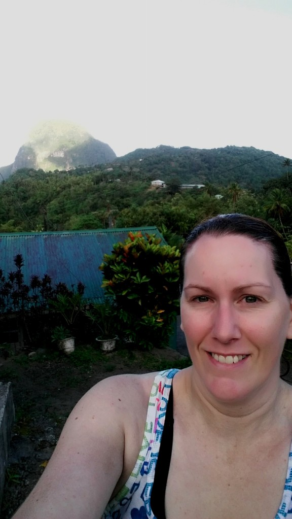 as we drove down and out of the volcano we  could see the Gros Piton in the distance.  Crazier still ...people LIVED in this volcano!